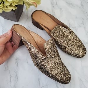 Madewell The Glitter Mule Gold Size 8